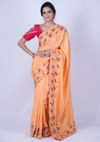 Peach-Colored Embroidered Saree