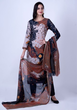 Multicolour Contemporary Digital Printed Pure Raw Silk Kurta Set