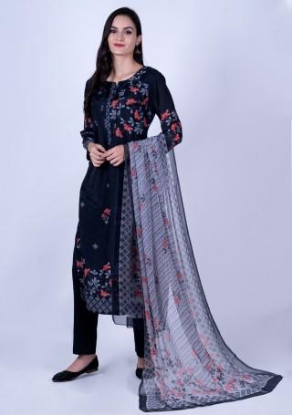 Black Digital Floral Printed Pure Cotton Silk Kurta Set