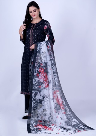 Black Cambric Cotton Digital Printed And Embroidered Kurta Set