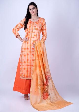 Peach and Orange Satin Suit Set