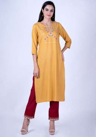 Mango Yellow Rayon Slub Embroidered Kurta and Pant Set