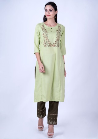 Pistachio Green Rayon Slub Embroidered Kurta and Pant Set