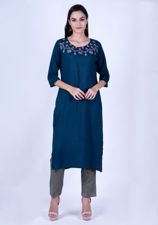 Blue Rayon Slub Embroidered Kurta and Pant Set