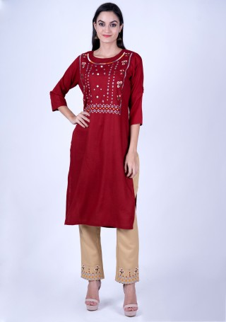 Maroon Rayon Slub Embroidered Kurta and Pant Set