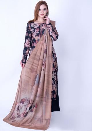 Black Multi-Colour Digital Printed Pashmina Suit Set