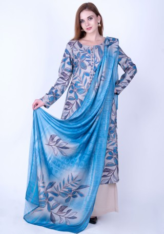 Blue Multi-Colour Digital Printed Pashmina Suit Set