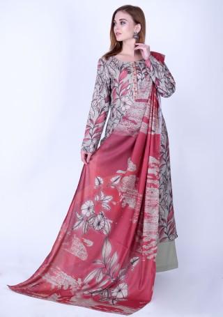 Multi-Colour Digital Printed Pashmina Suit Set