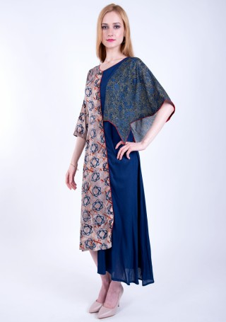 Royal Blue Asymmetrical A-line Printed Rayon Long Dress