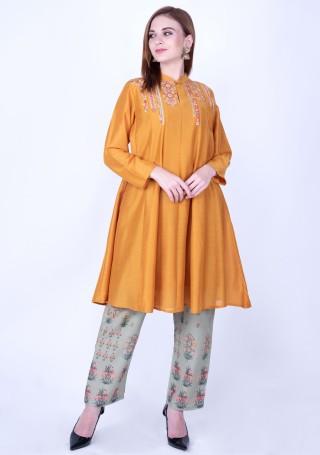 Tangerine Orange Silk Embroidered Contemporary Kurta and Pant Set