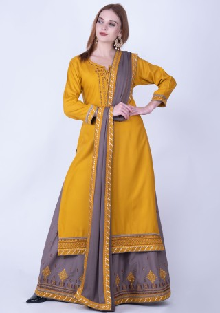 Mustard yellow and Grey Rayon Embroidered Kurta Skirt Set
