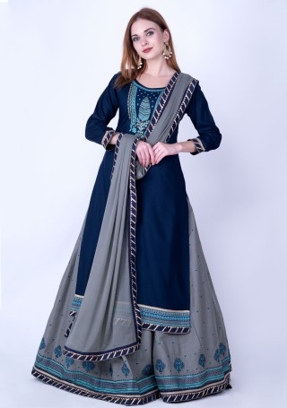 Navy Blue and Grey Rayon Embroidered Kurta Skirt Set