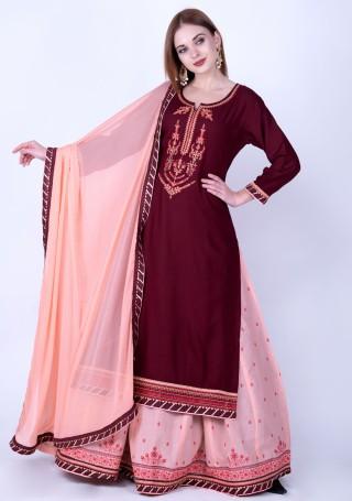 Red Wine and Light Salmon Rayon Embroidered Kurta Skirt Set