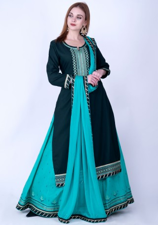 Dark Jade Green and Mint Green Rayon Embroidered Kurta Skirt Set