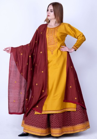 Mustard Yellow and Maroon Silk Embroidered Kurta Skirt Set