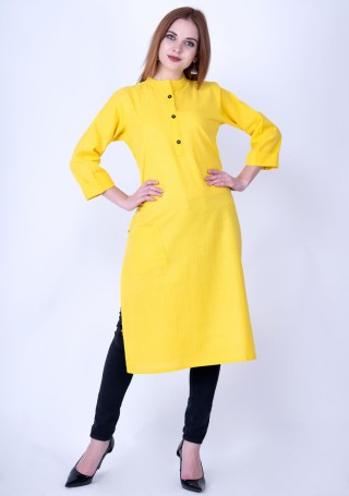 Bright Yellow Solid Cotton Kurti