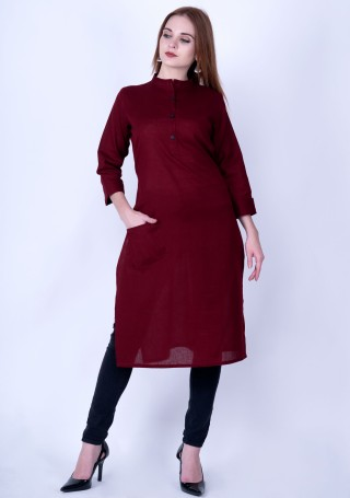 Wine Red Solid Cotton Kurti