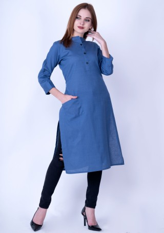 Royal Blue Solid Cotton Kurti