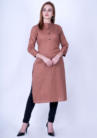 Dark Rosy Brown Solid Cotton Kurti