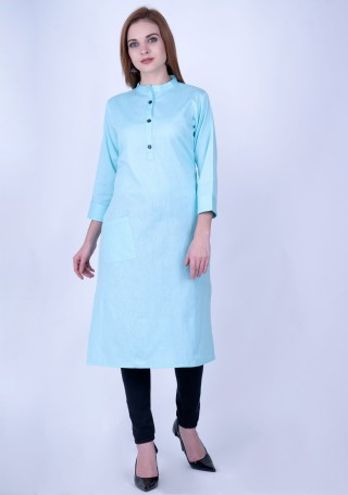 Baby Blue Solid Cotton Kurti