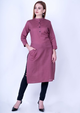 Rouge Pink Solid Cotton Kurti