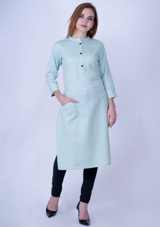 Light Cyan Blue Solid Cotton Kurti