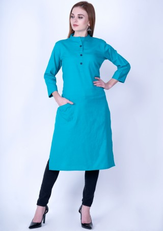 Turquoise Blue Solid Cotton Kurti