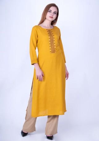 Marigold Yellow Rayon Slub Kurta Pant Set