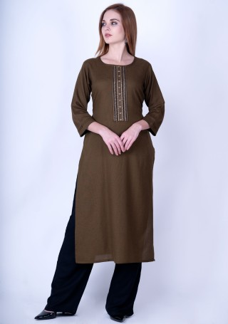 Brown Rayon Slub Kurta Pant Set