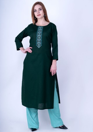 Bottle Green Rayon Slub Kurta Pant Set