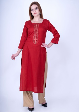 Red and Beige Rayon Slub Kurta Pant Set