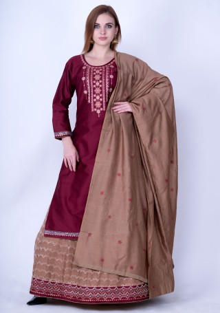 Wine and Taupe Brown Embroidered Kurta Skirt Set