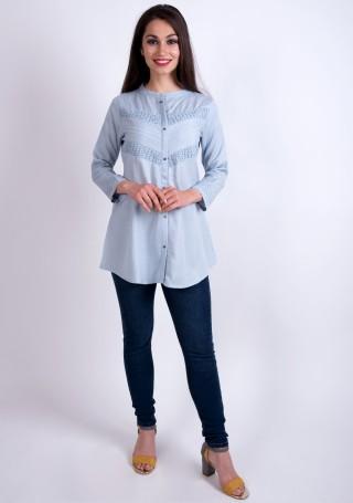 Elegant Bluish Grey Slub Silk Rayon Shirt Style Tunic