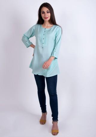 Elegant Pastel Aqua Blue Slub Silk Rayon Tunic