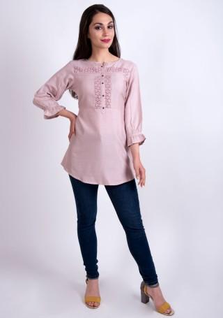 Elegant Mauve Pink Slub Silk Rayon Tunic