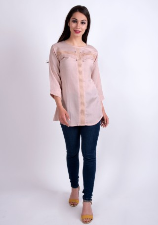 Elegant Beige Slub Silk Rayon Tunic
