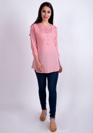 Elegant Pastel Pink Slub Silk Rayon Tunic