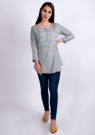 Elegant Pastel Grey Slub Silk Rayon Tunic