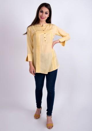 Elegant Pastel Yellow Slub Silk Rayon Tunic