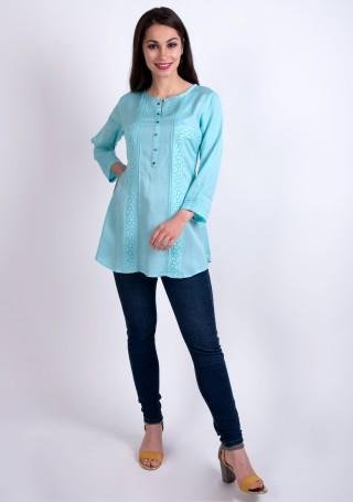 Elegant Pastel Sky Blue Slub Silk Rayon Tunic