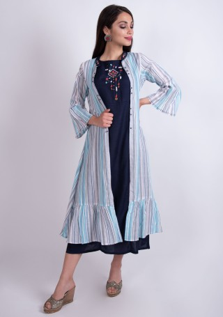 Navy Blue Rayon Embroidered Dress with Multi-Colour Jacket