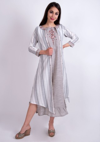 Light Grey Rayon Embroidered Dress with Multi-Colour Jacket