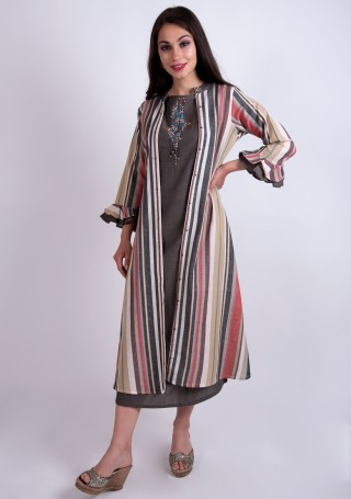 Brown Rayon Embroidered Dress with Multi Colour Jacket