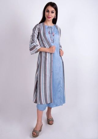 Light Blue Rayon Embroidered Dress with Multi-Color Jacket