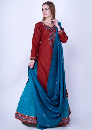 Red and Deep Sky Blue Silk Embroidered Kurta Skirt Set