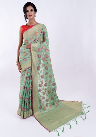 Banarasi Cotton Silk Sea Green Saree with Multicolor Resham Floral Zaal & Zari Border