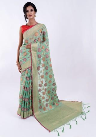 Banarasi Cotton Silk Sea Green Saree with Multicolor Resham Floral Zaal & Zari Border