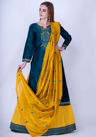 Prussian Blue And Saffron Yellow Silk Embroidered Kurta Skirt Set