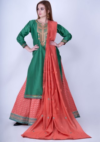 Green and Coral Silk Embroidered Kurta Skirt Set