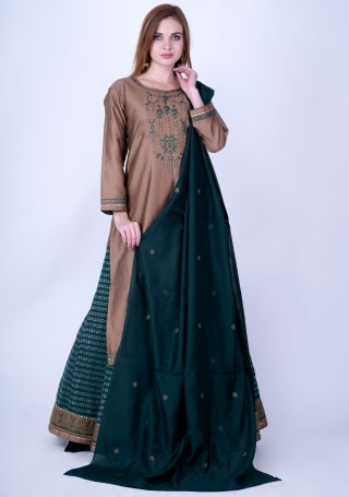Taupe Brown and Dark Peacock Green Silk Embroidered Kurta Skirt Set